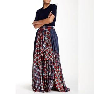 TOV maxi plaid skirt